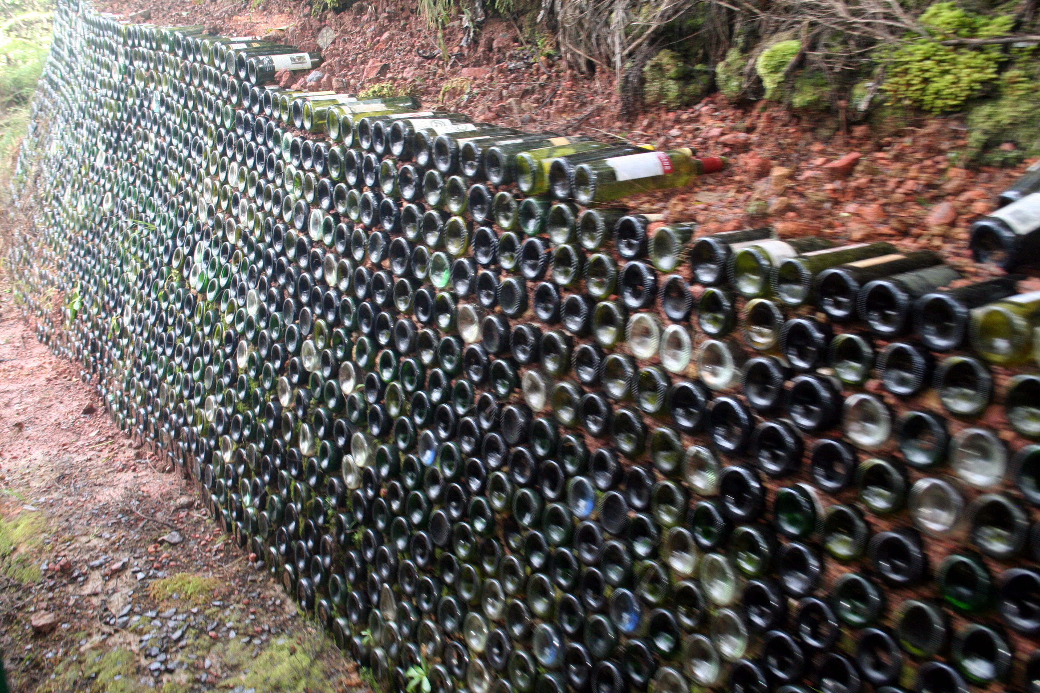 Wine Bottle Retaining Wall Mountainside... | Garden Blessings | Pinterest | Retaining Walls ...
